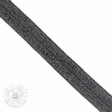 Bias binding elastic glitter 20 mm black
