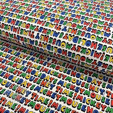Cotton fabric Mickey Colourful Words digital print