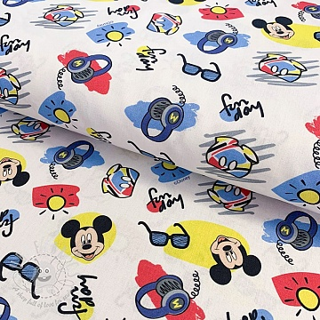 Cotton fabric Mickey Fun day digital print
