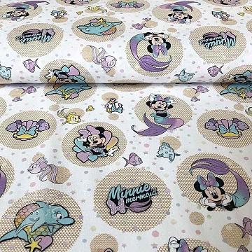 Cotton fabric Sea Minnie Minnie mermaid digital print