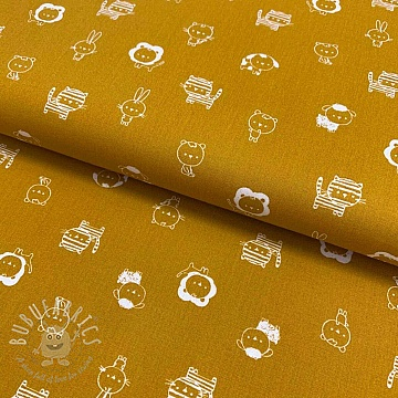 Cotton fabric Sweet animals tossed ochre