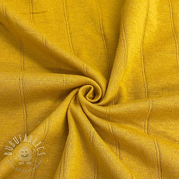 Cotton jersey INTERLOCK Stripe yellow
