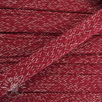 Cotton cord flat 20 mm melange red