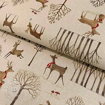 Decoration fabric Linenlook Autumn deer  premium