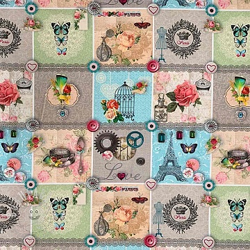 Decoration fabric Love paris digital print