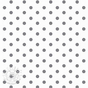 Cotton fabric Dots white/grey