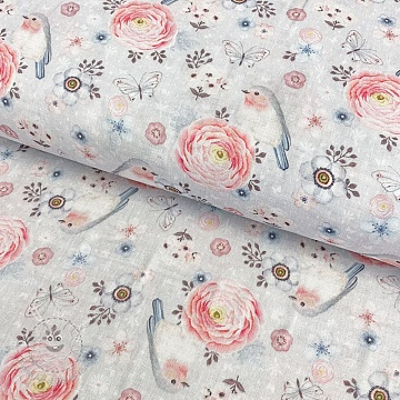 Double gauze/muslin smooth  Passion large flower digital print