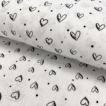 Double gauze/muslin smooth In hearts off white