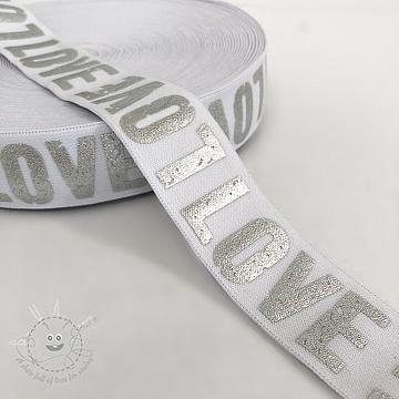 Elastic 3,5 cm LOVE white