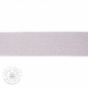 Elastic 5 cm glitter light grey