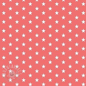 Cotton fabric Petit stars coral