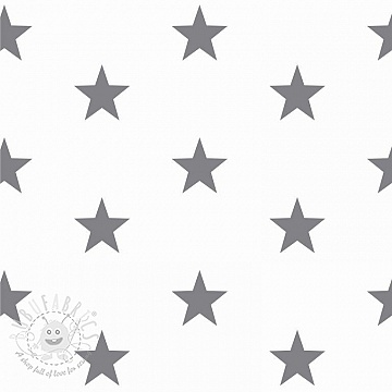 Cotton fabric Stars white/grey