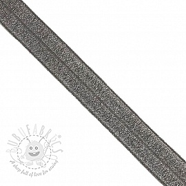 Bias binding elastic glitter 20 mm anthracite