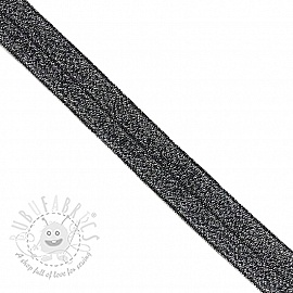 Bias binding elastic glitter 20 mm black