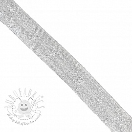 Bias binding elastic glitter 20 mm white