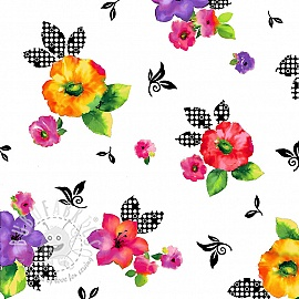 Cotton fabric BROOKE Tossed floral white