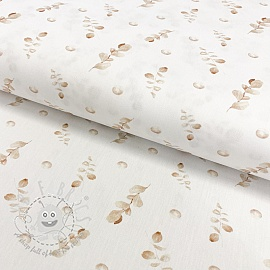 Cotton fabric Aegir beige eucalyptus digital print