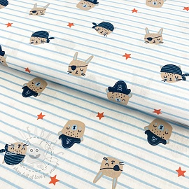Cotton fabric Ahoy Pirates MINI white