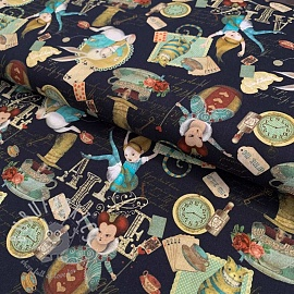 Cotton fabric Alice in wonderland black digital print