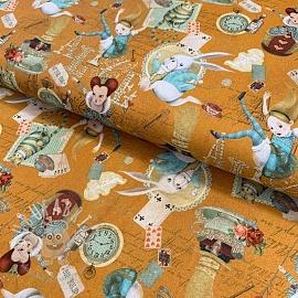 Cotton fabric Alice in wonderland ochre digital print
