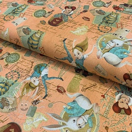 Cotton fabric Alice in wonderland peach digital print