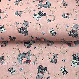 Cotton fabric Animals pink SOFT