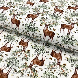 Cotton fabric Antlers digital print