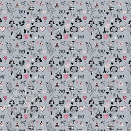 Cotton fabric Arlequeen grey