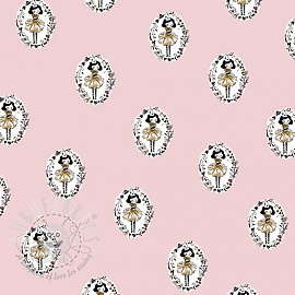 Cotton fabric Arlequeen medailon rose