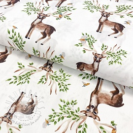 Cotton fabric Baby woodland deer digital print