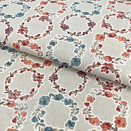 Cotton fabric Bagatelle circles coral digital print