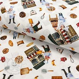 Cotton fabric Bakery digital print