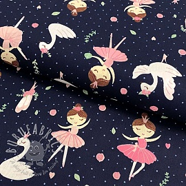 Cotton fabric Ballerina swan and roses navy