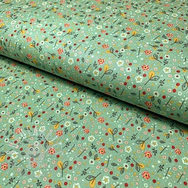 Cotton fabric Beautiful Flowers green