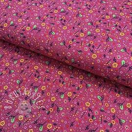 Cotton fabric Beautiful Flowers mauve