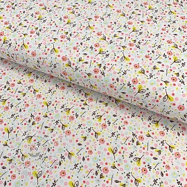 Cotton fabric Beautiful Flowers white