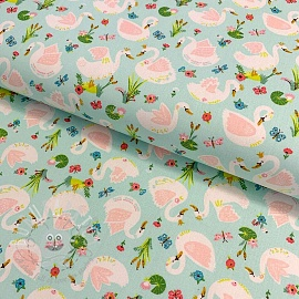 Cotton fabric Beautiful Swans aqua
