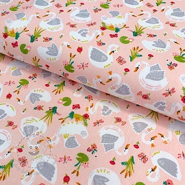 Cotton fabric Beautiful Swans rose