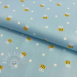 Cotton fabric Bee with flowers light blue