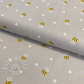 Cotton fabric Bee with flowers light grey