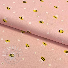 Cotton fabric Bee with flowers light rosa