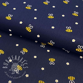 Cotton fabric Bee with flowers navy