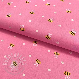 Cotton fabric Bee with flowers pink