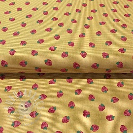 Cotton fabric Berries field ochre