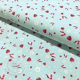 Cotton fabric Berries garden light blue