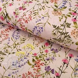 Cotton fabric Botanico rosa claro digital print