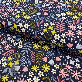Cotton fabric Brushed bloom navy
