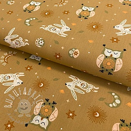 Cotton fabric Brushed Dreamy owl light brown