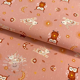 Cotton fabric Brushed Dreamy owl salmon