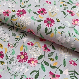 Cotton fabric Brushed flowers light grey